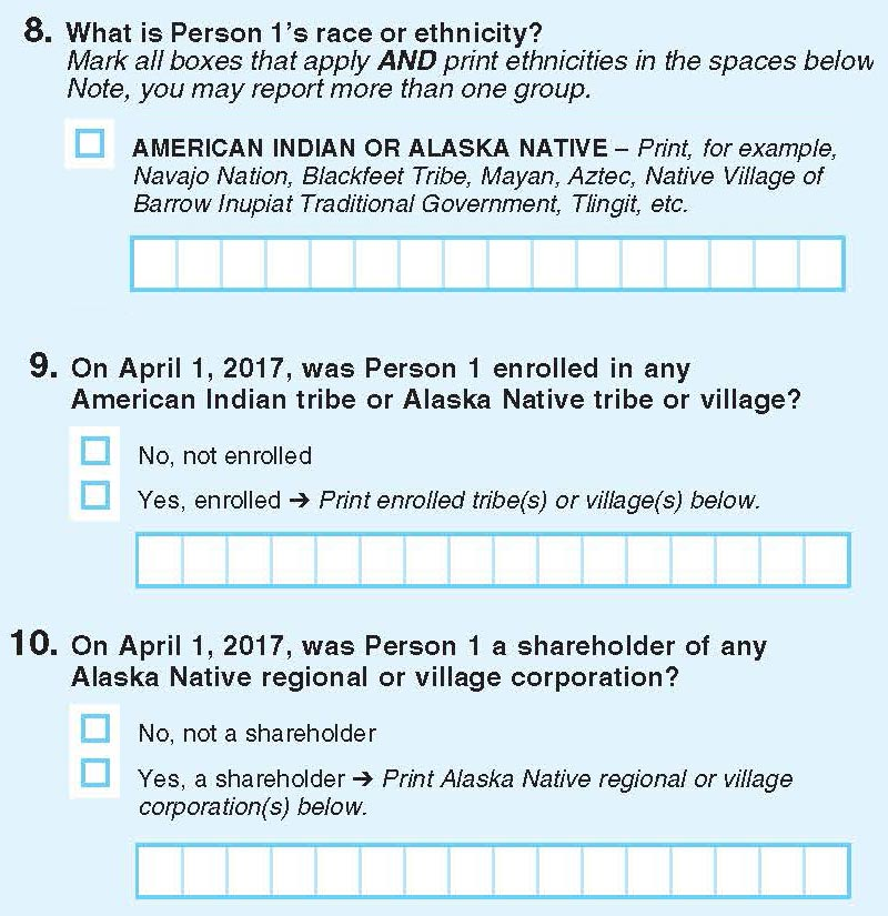 Questions from the 2017 Census test